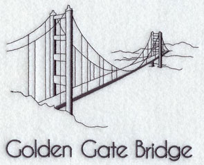 A quick-stitching machine embroidery design of the Golden Gate Bridge.
