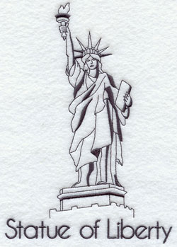 A quick-stitching machine embroidery design of the Statue of Liberty.