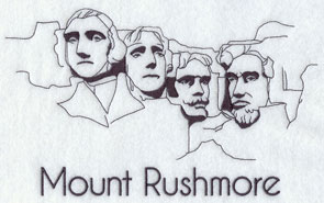 A quick-stitching machine embroidery design of Mount Rushmore.