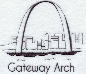 A quick-stitching machine embroidery design of the St. Louis Arch.
