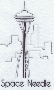 A quick-stitching machine embroidery design of the Space Needle.