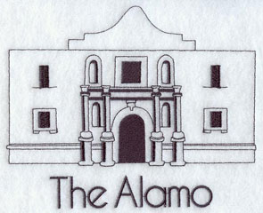 A quick-stitching machine embroidery design of the Alamo.