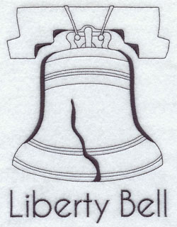 A quick-stitching machine embroidery design of the Liberty Bell.