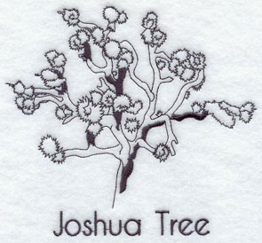 A quick-stitching machine embroidery design of a Joshua Tree.