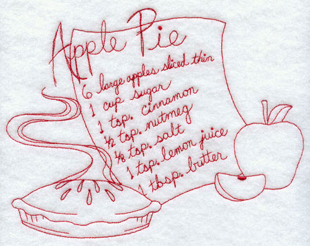 A redwork apple pie recipe machine embroidery design.