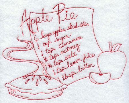 A redwork apple pie recipe machine embroidery design.