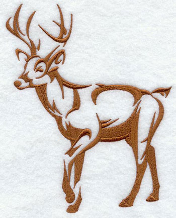 A deer in silhouette machine embroidery design.