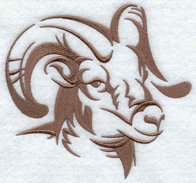 A bighorn sheep silhouette machine embroidery design.