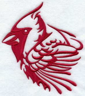 A cardinal silhouette machine embroidery design.