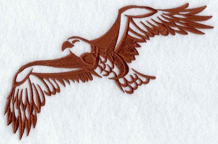 A soaring eagle in silhouette machine embroidery design.