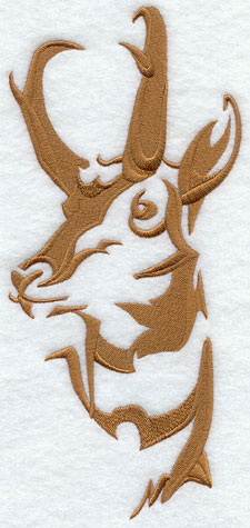 A pronghorn silhouette machine embroidery design.