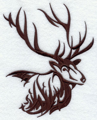 An elk silhouette machine embroidery design.