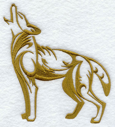 A coyote silhouette machine embroidery design.