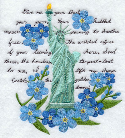 A shabby chic Statue of Liberty machine embroidery design medley.