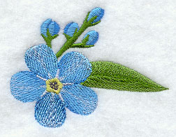 Blue flowers and buds machine embroidery design.