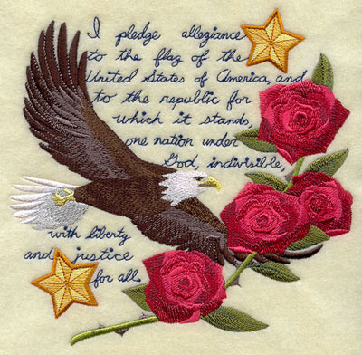 Shabby chic medley of an eagle, roses, and stars against the Pledge of Allegiance.