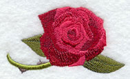A red rose machine embroidery design.