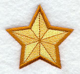 A gold star machine embroidery design.