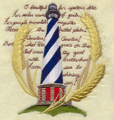 The lyrics to America the Beautiful with a lighthouse and wheat grains machine embroidery design.