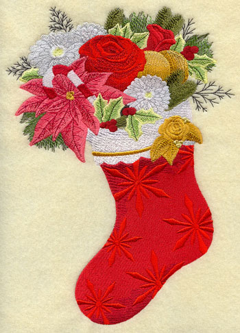 A Christmas stocking blooming with fresh flowers.
