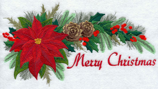 "Flowers and pine form a swag with the words ""Merry Christmas."""