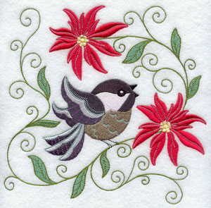 A chickadee sits in poinsettias machine embroidery design.