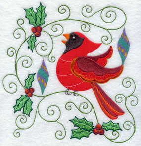 Holly and ornaments frame a Christmas cardinal.