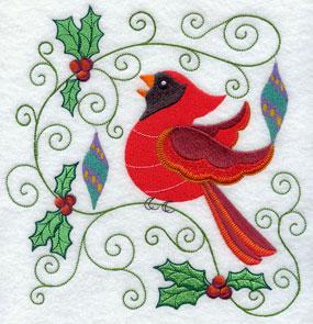 Holly and ornaments frame a Christmas cardinal.