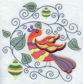 A patridge in a pear tree decorated with ornaments machine embroidery design.