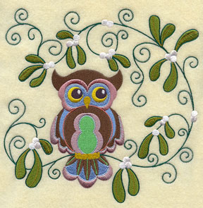 A retro owl sits in the mistletoe.