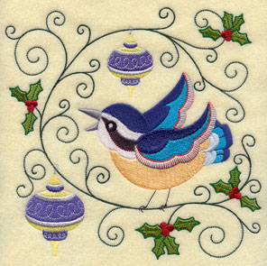 A nuthatch, ornaments, and holly machine embroidery design.