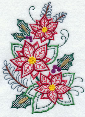 Poinsettias and holly in a variety of stitches machine embroidery design.