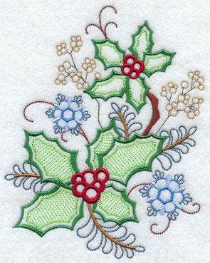 Holly Christmas decor machine embroidery design.