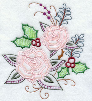 Roses bloom with holly in a fresh Christmas floral design.