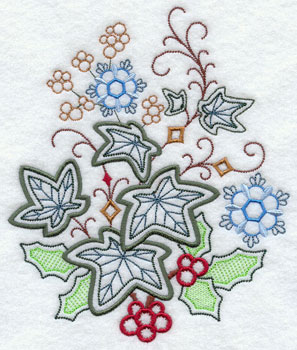 Ivy and holly machine embroidery design.
