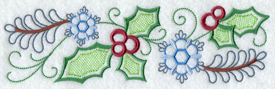 A holly and floral machine embroidered Christmas border design.
