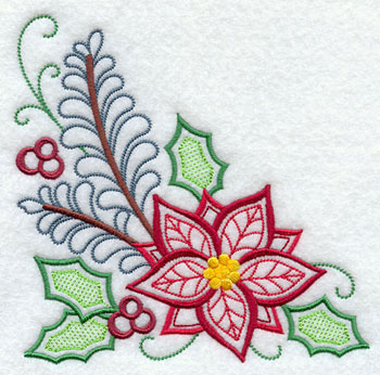 A pretty Christmas poinsettia corner design.