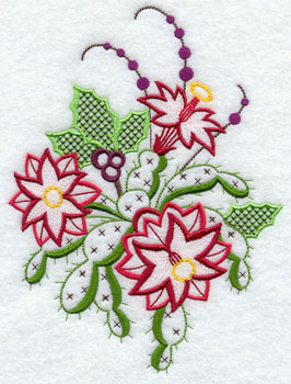 Christmas cactus blooms with holly machine embroidery design.