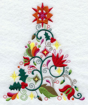 A whimsical and abstract Christmas tree machine embroidery design.