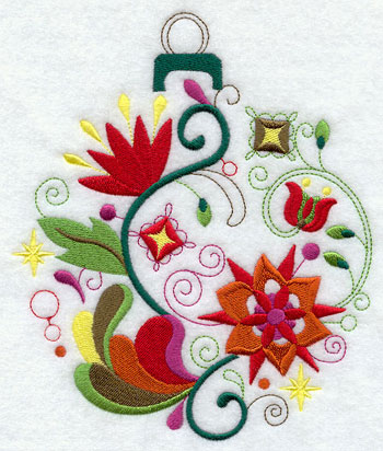 A whimsical and abstract Christmas ornament machine embroidery design.