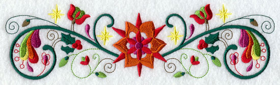 A whimsical and abstract Christmas border machine embroidery design.
