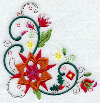 A whimsical and abstract Christmas corner machine embroidery design.