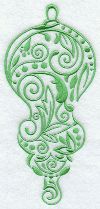 Flowers, swirls, and dots fill an open and airy Christmas ornament machine embroidery design.