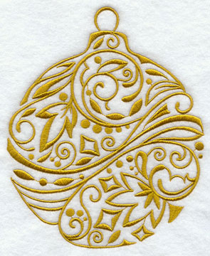 A contemporary light-stitching Christmas ornament.