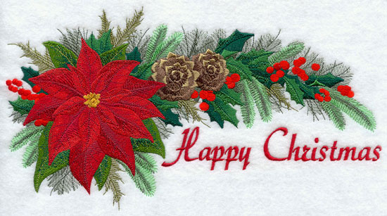 "Flowers and pine form a swag with the words ""Happy Christmas."""