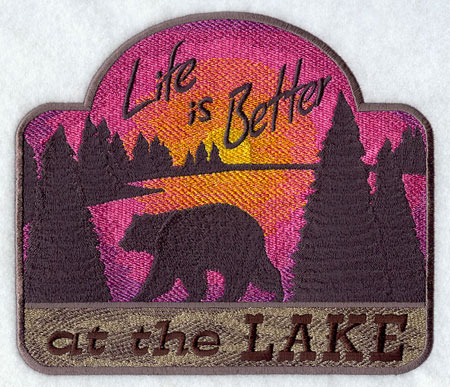"A ""Life is Better at the Lake"" sampler machine embroidery design."