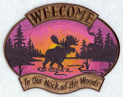 Welcome to Our Neck of the Woods sampler design.