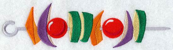 A veggie shish kabob machine embroidery design.