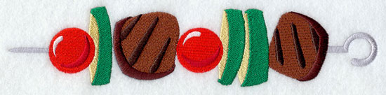 A beef and veggie shish kabob machine embroidery design.
