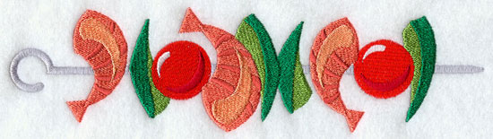 A shrimp and veggie shish kabob machine embroidery design.